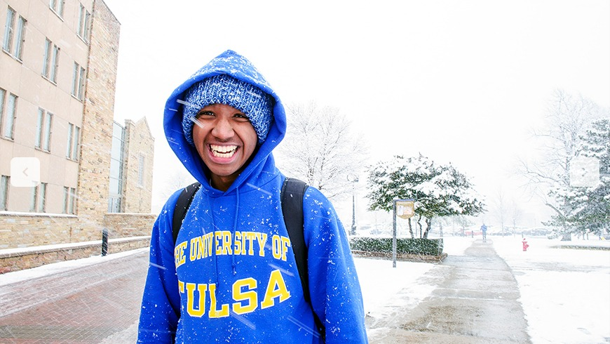 TU Student in the snow